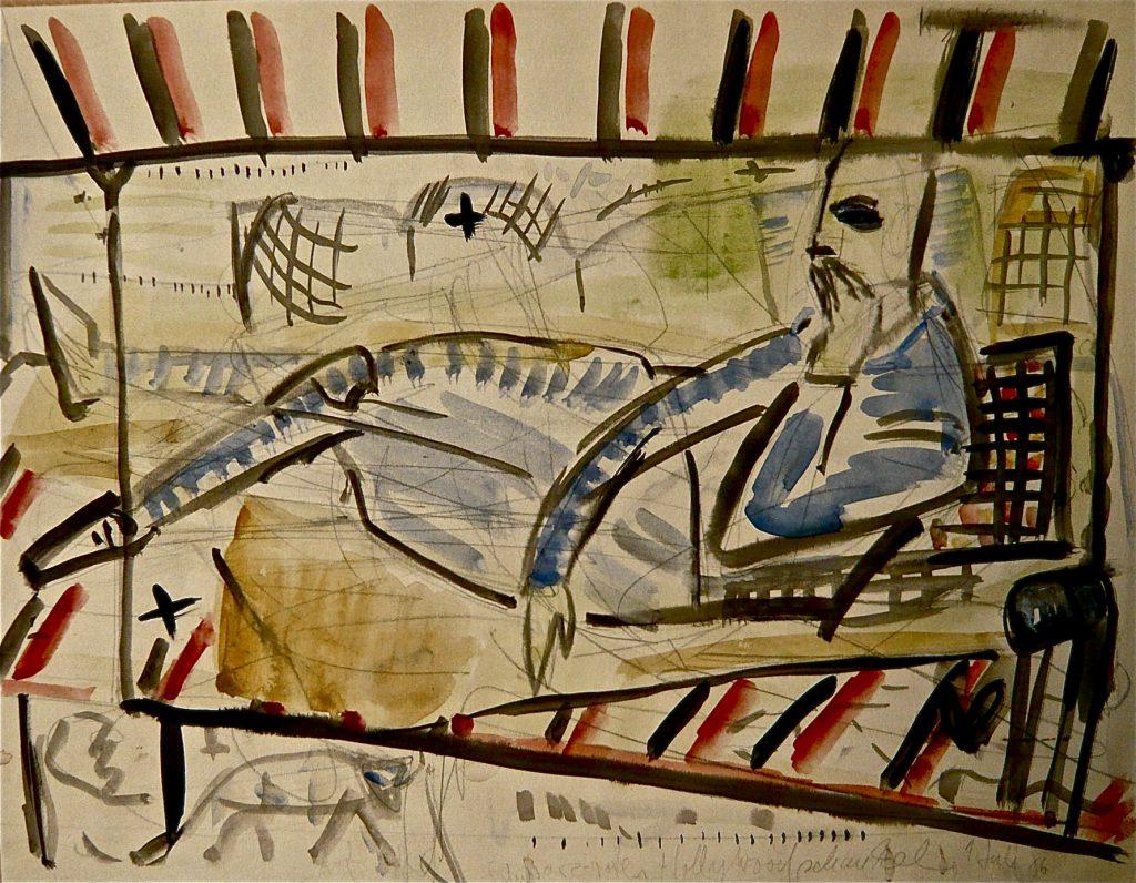 K.S.,1986, Farbzeichnung, Bleistift und Wasserfarben auf Karton,