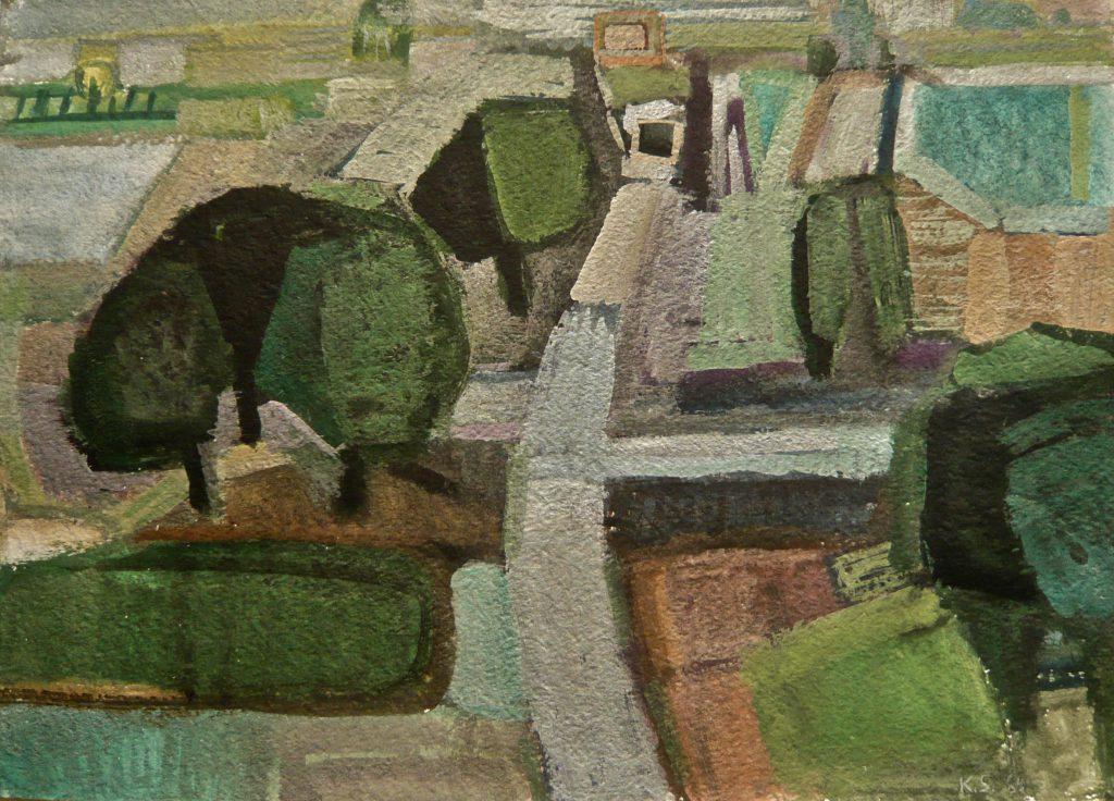 K.S.,1986, Gouache-Malerei auf Karton,36,5x51