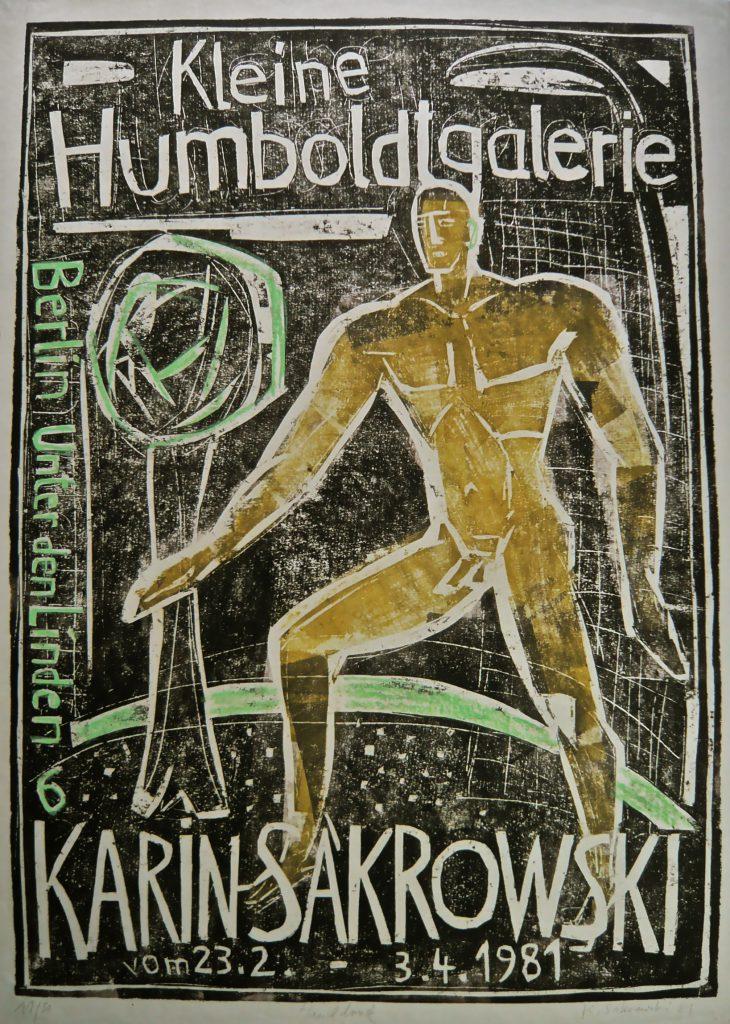 K.S.,1981, Ausstellungsplakat, Handdruck, Materialschnitt, 64x56cm