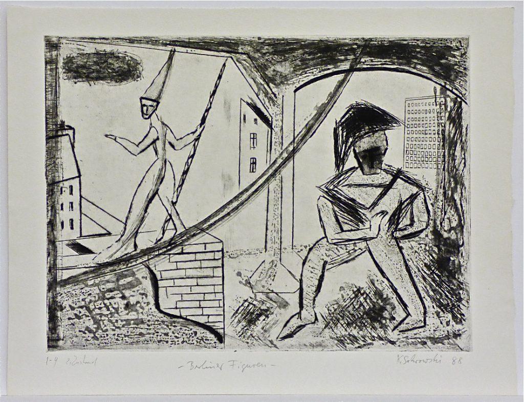 K.S., 1988, -Berliner Figuren-, Kaltnadelradierung, 37,5 x 48,8 cm