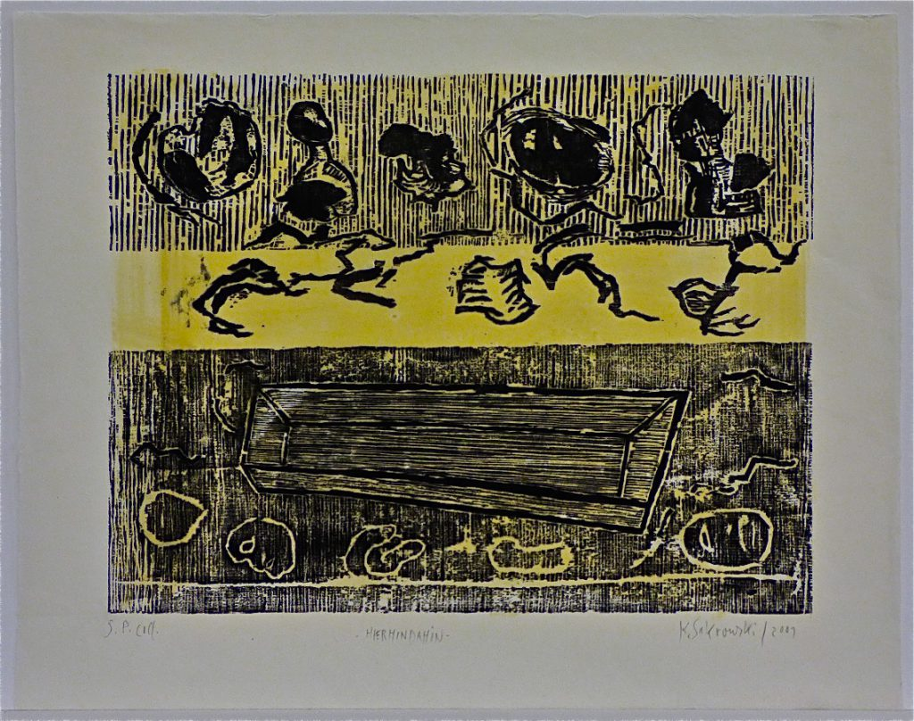 K.S., 2001,Farbholzschnitt, 2PlattenDruck, Schwarz über Hellgelb, 46,2x58,7