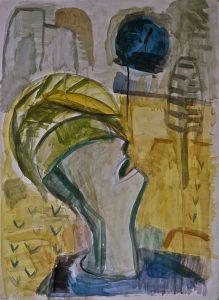 K.S.,1986,K.S., 1987, Der Rufer, Mischtechnik auf Karton, (Galerie am Prater), Berlin Prenzlauerberg 86/87, 71,5x51