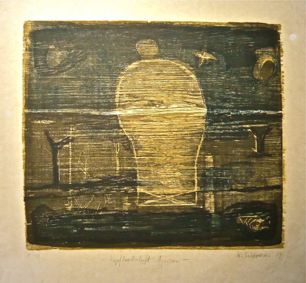 K.S., 1989, -Kopflandschaft, Apeiron- Farbholzschnitt, 45,5x46 cm