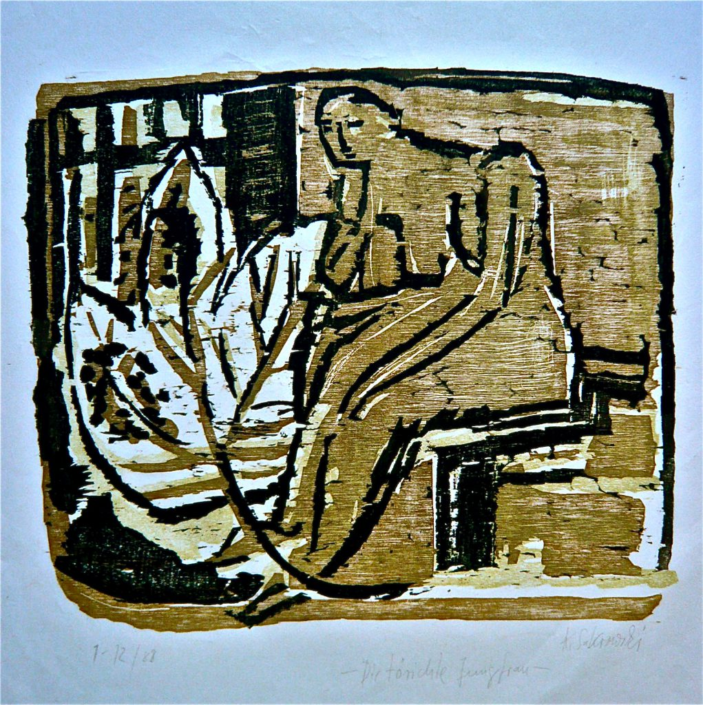 K.S.,1988, Farbholzschnitt, K.S., Farbholzschnitt, Druck, 30x35, Sammlung: Museum Junge Kunst Frankfurt (Oder), Museum Schwerin( MV), Auflage 1-12