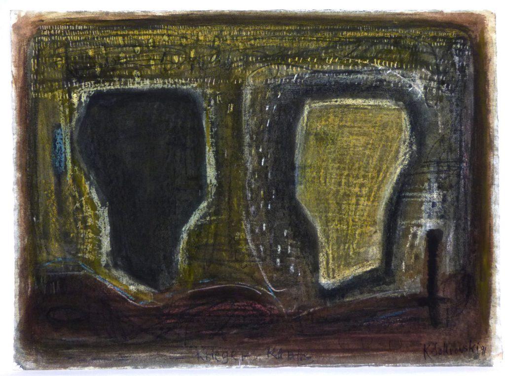 K.S., 1991, -Krieger-Köpfe-, Mischtechnik auf Industrie-Karton, 55x75 cm