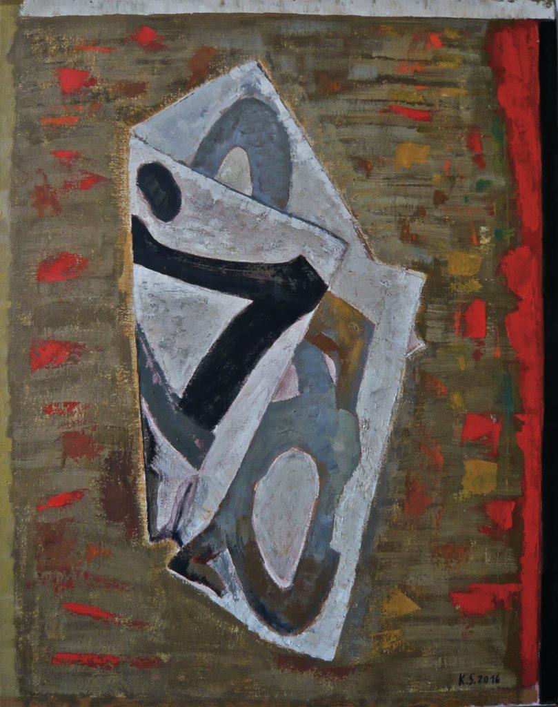 K.S., 2016,-Faltung-, Öl auf Leinwand, 70x55 cm